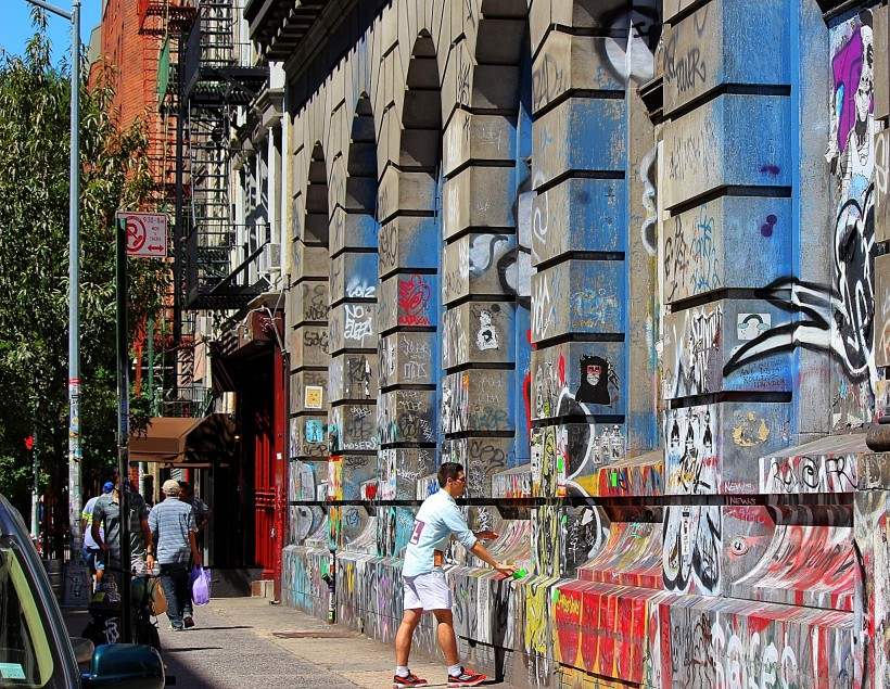 190 bowery building in soho in new york city, public space take over, street art, graffiti