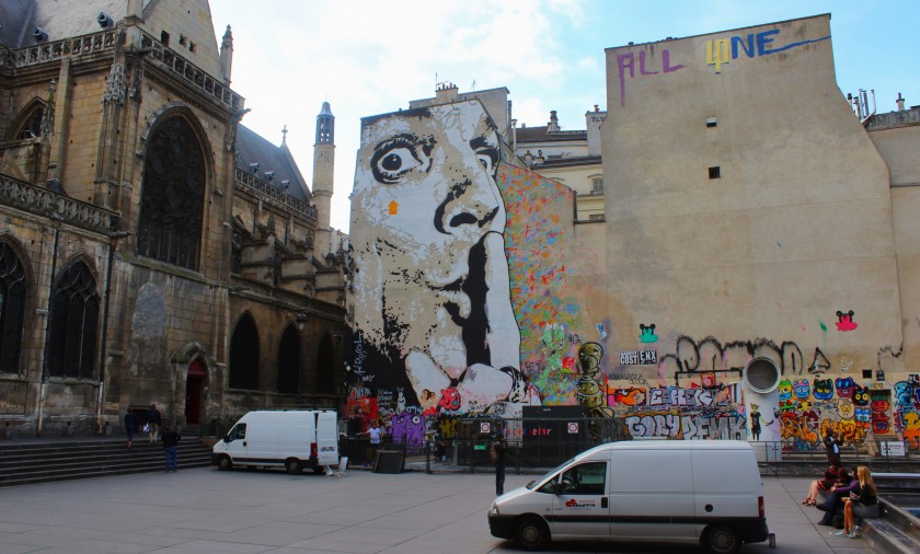 Beautiful colorful mural by Jef Aerosol in Paris at  Place Georges-Pompidou, Salvador Dalí, Graffiti, church, rooftops, tags, throwups