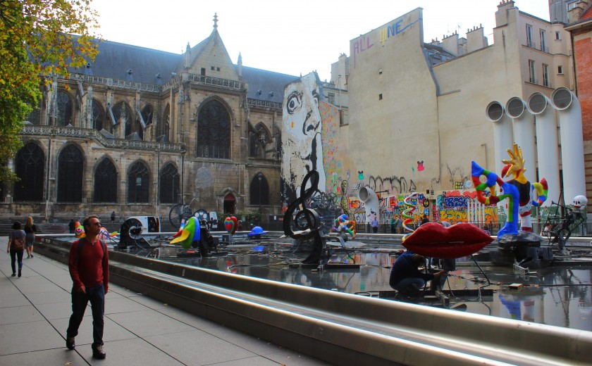Beautiful mural  by Jef Aérosol at Place Georges-Pompidou in Paris, Salvador Dalí, StreetArt, Graffiti, Water fountain with sculptures, church