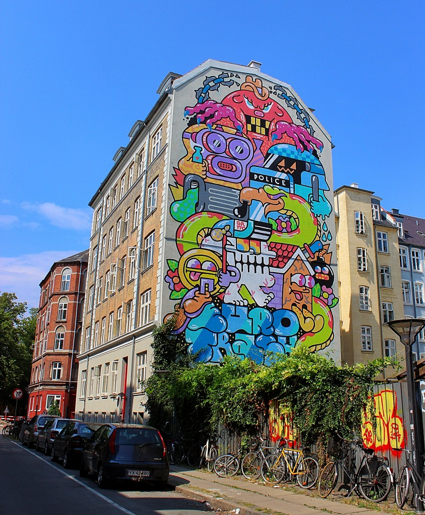 beautiful color full mural by grito in copenhagen, graffiti, street art, public space take over