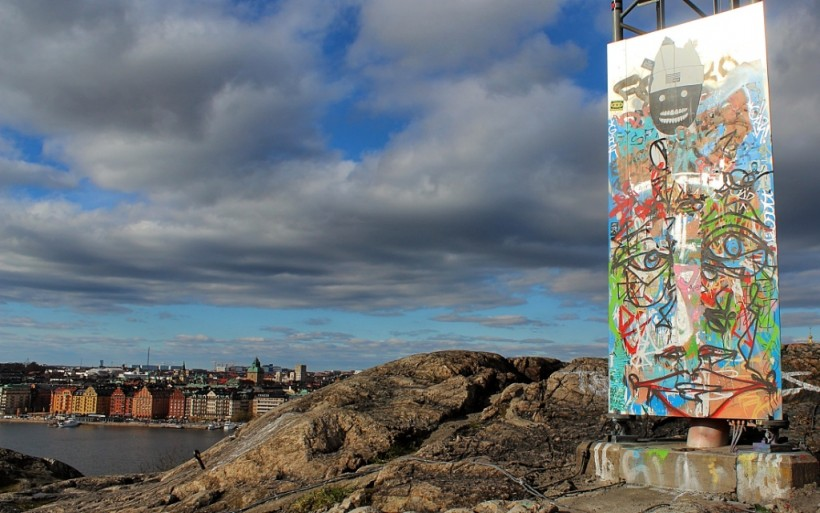 view from skinnaviksberget in stockholm in sweden, street art, graffiti, public space take over