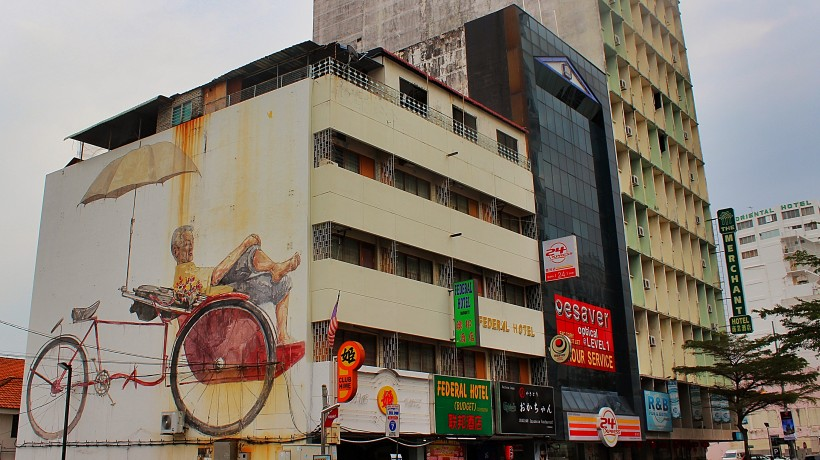 huge and beautiful mural by artist desmond yeo in georgetown in penang, malaysia, street art, graffiti, public space take over