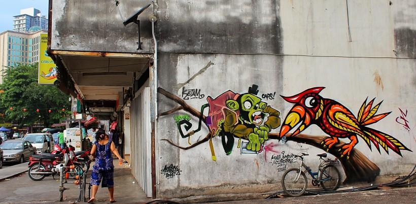Beautiful mural in kuala lumpur, graffiti, street art