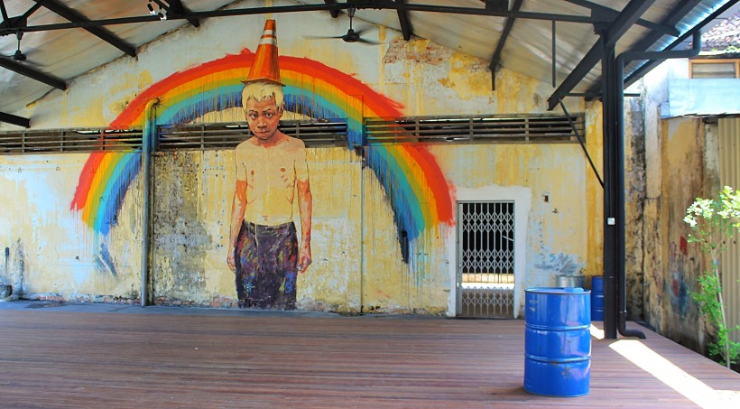 the him bus art depot center in penang in malaysia, street art, graffiti, public space take over