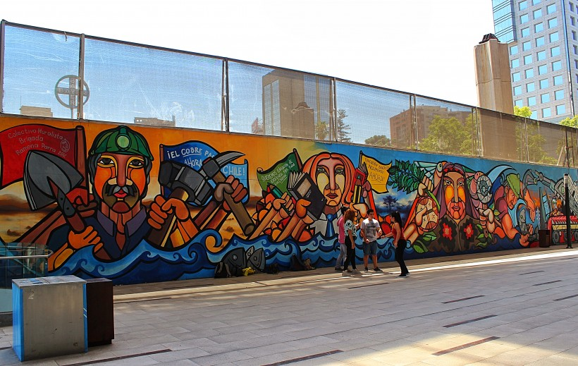 folklore mural at The front of the Gabriela Mistral Cultural Center in Barrio Lastarria, street art and graffiti in santiago de chile, public space take over