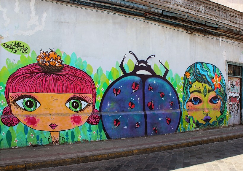 dreamy and colorful feminine street art and graffiti in barrio brazil in santiago de chile, tags and throws, public space take over