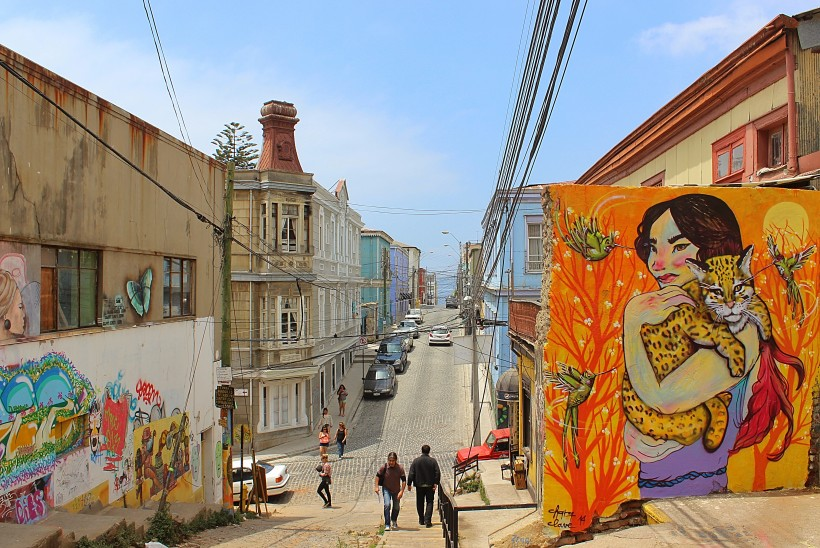 amazing view and loads of street art on calle temple man in valparaiso in chile, public space take over with graffiti and tags and throws