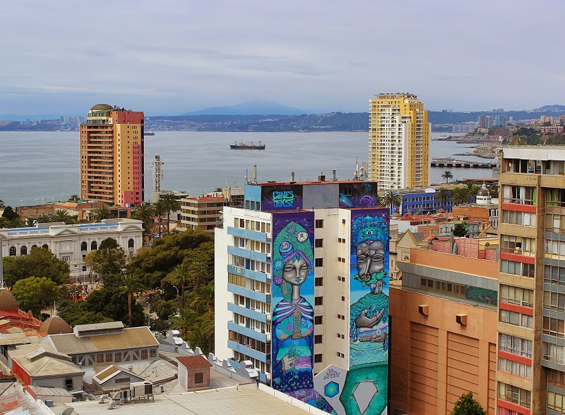 street art and murals on buildings in valparaiso in chile, amazing graffiti and tags and throws, public space take over