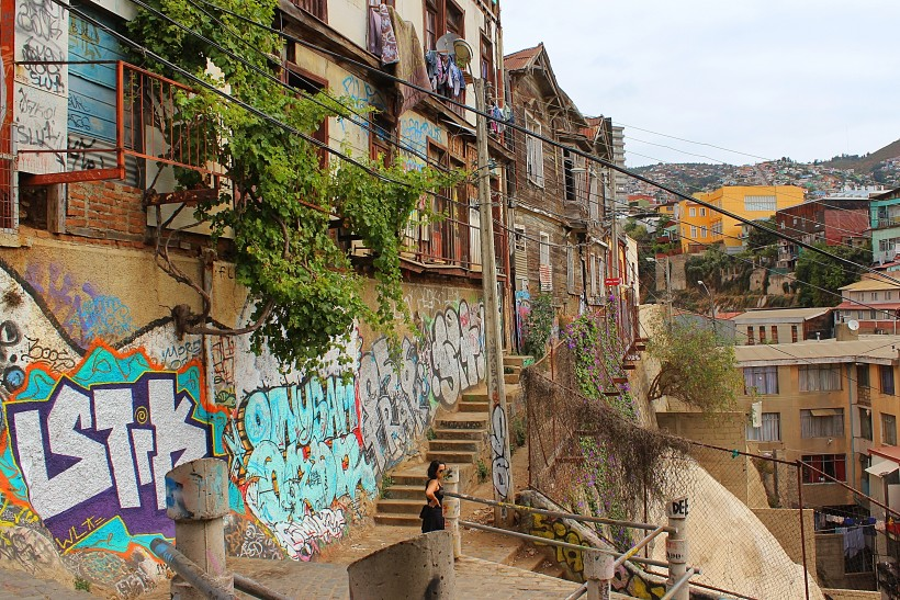 super bombed walls in valparaiso in chile, graffiti and tags and throws and street art