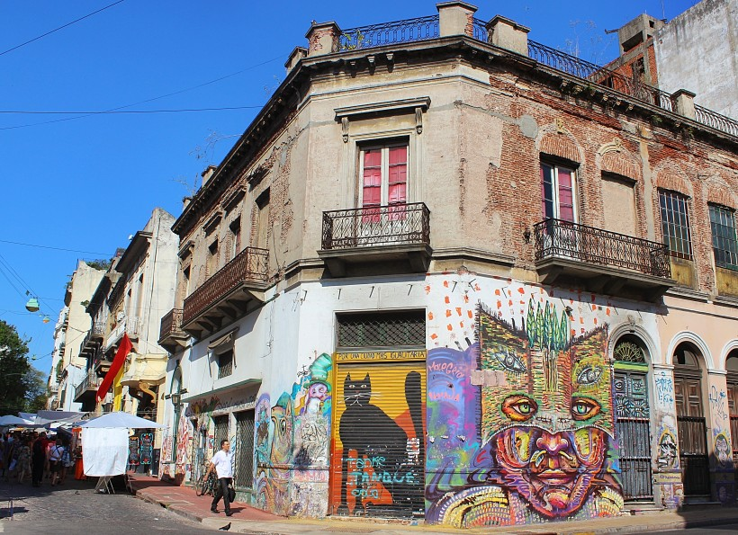 amazing and colorful public space take over in barrio san telmo in buenos aires, street art and graffiti in argentina