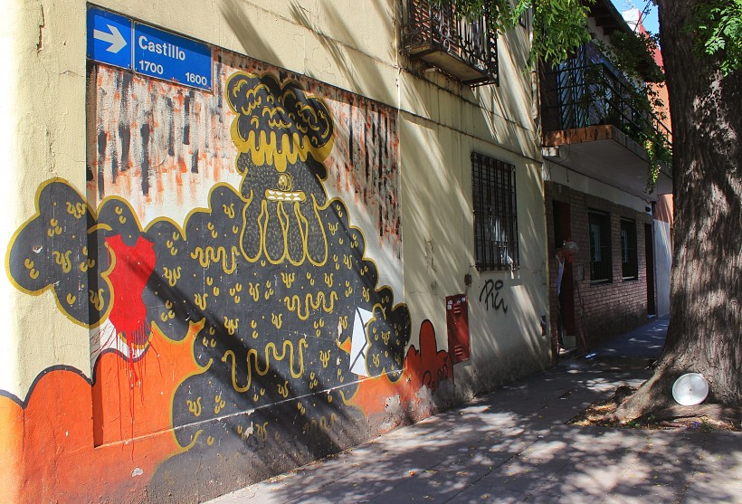 street art and graffiti public spaec take over in barrio chacarita and villa crespo in buenos aires, argentina