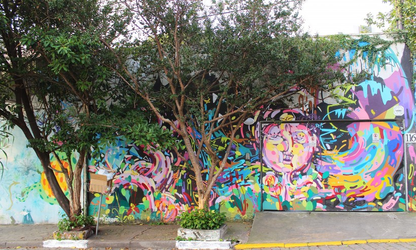 public space take over with street art and graffiti in vila madalena in sao paulo, tags and throws in brazil
