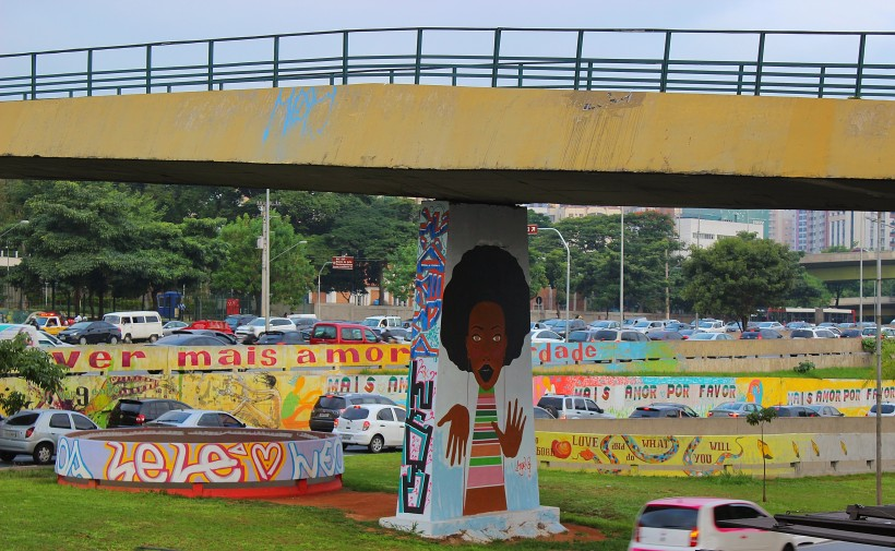 public space take over with street art and graffiti in sao paulo, tags and throws in brazil